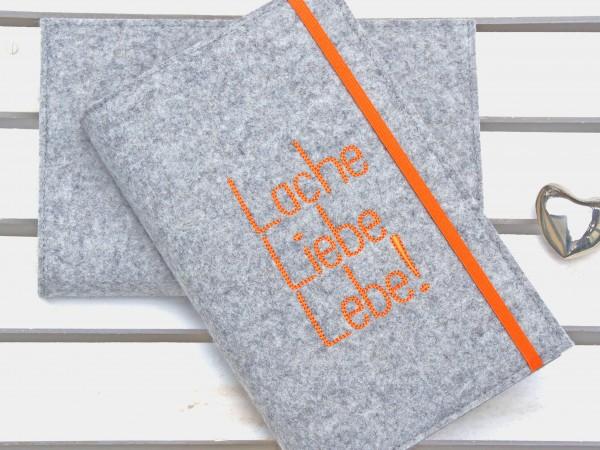 Lache Liebe Lebe! - hellgrau/orange