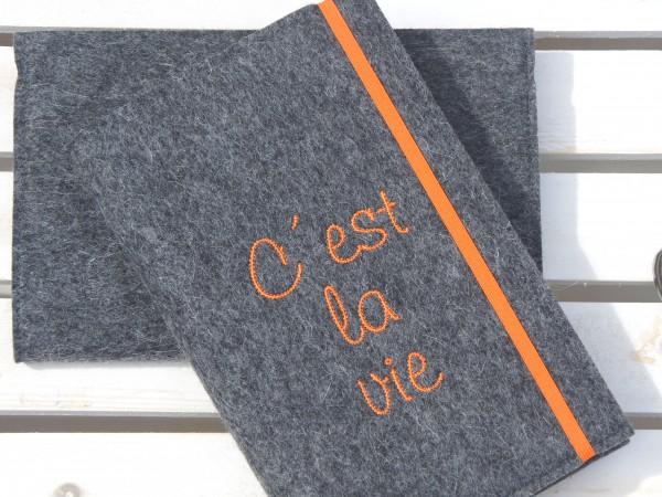 C'est la vie - dunkelgrau/orange